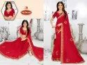 Dyed Bridal Embroidery Work Saree - Abninay