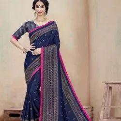 Jute Silk Sari With Aari Work Mirror Sarees Party Wear Wedding
