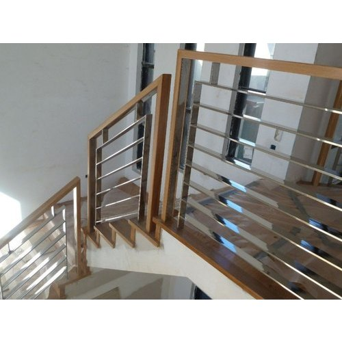Brown and Silver Stainless Steel Fancy Railing