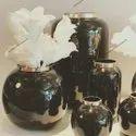 Round Wrought Iron Enamel Vases