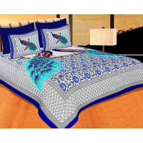 Peacock Print Cotton Double Bed Sheet