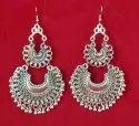 Alloy Silver Nk Handmade Oxidised Chand Bali Earrings