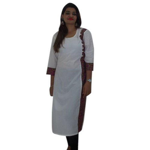 Cotton And Cotton Cambric Casual Wear Ladies Designer Round Neck Kurti, Hand Wash,Machine Wash, Size: Available In S To XXXL
