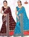 Dyed Georgette Heavy Embroidery work Saree with Lace - Sky Larc