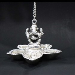 Silver Plated Brass 5 Diya Holder