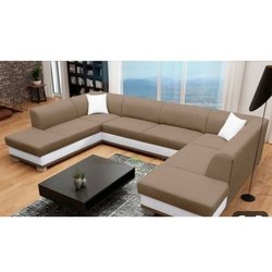 U Shaped Plain Sofa Set