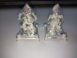 SMO Laxmi Ganesh Silver Idol Statue, Packaging Type: Box