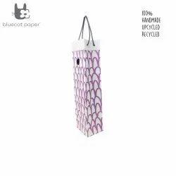 Charming handmade paper wine bag - mauve