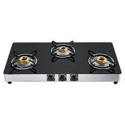 Stainless Steel 3 Burner Glass Top Gas Stove, For Kitchen