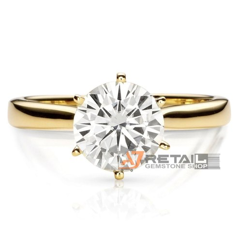 1 Carat Evs1 White and Yellow Gold Studded Lab Grown Diamond Ring with Igi Certified