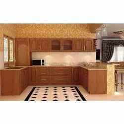 Brown U Shape Modular Kitchen