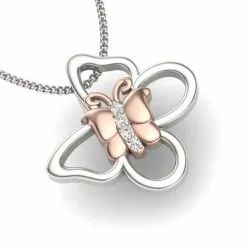 Perrian 18Kt White and Rose Gold and Diamond Pendant for Women