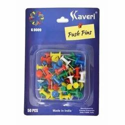 Plastic,Steel Kaveri Colored Push Pins, 50 Pieces Per Packet, Size: 15 Mm