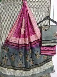 Hand Block Printed Unstitched Chanderi Silk Suit