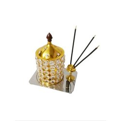 Gold Plated Akhand Diya with Agarbatti Stand
