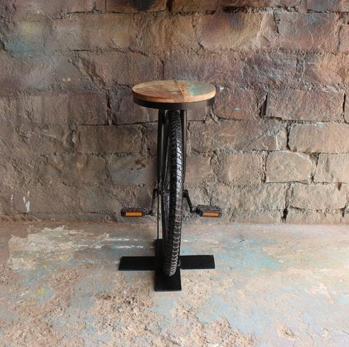 Miraculous Industrial Bar Stools Vintage Cycle Wheel With Pandle Bar Caraccident5 Cool Chair Designs And Ideas Caraccident5Info