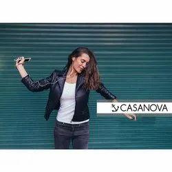Full Sleeve Plain Casanova Black Ladies Leather Jackets, Size: S-XXL