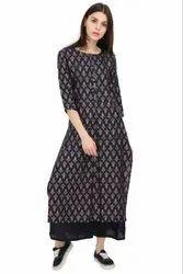 Ladies Casual Wear Round Neck Fancy Printed Long Kurta