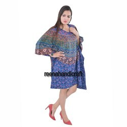 Indian Blue Circle Of Flowers Kaftan Mandala Women Dress