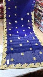 Casual Wear Embroidered Ladies Blue Cotton Sarees, 6.3 m (with blouse piece)