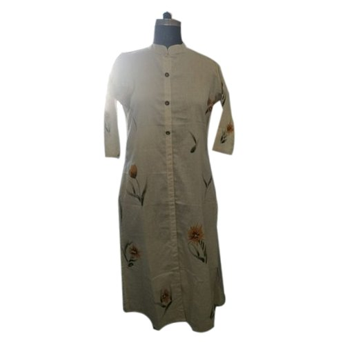 Ladies Beige Party Wear Cotton Printed Casual Kurti