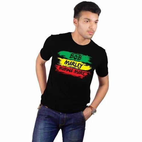 c124a5c6ac0 Black Casual Wear Bob Marley Printed T Shirt