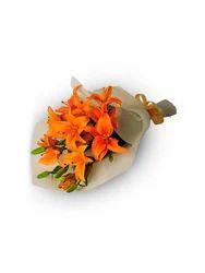 Bunch Of 4 Orange Lilium Warpped With Wooly Sheet