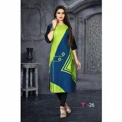 Casual Wear Ladies 3/4 Sleeve American Crepe Kurti, Size: M-XXL
