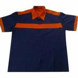 Blue and Yellow Cotton Petrol Pump Uniform