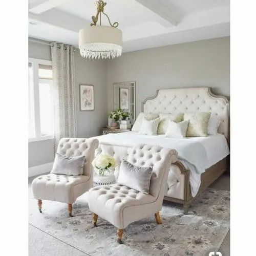 White Wooden Double Bed With Sofa Chair For Bedroom Rs 80000 Set Id 21289611630
