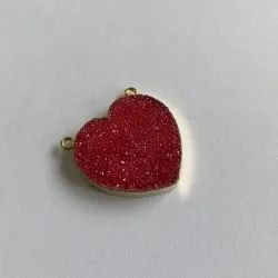 Druzy Pendant Red Heart Shape Electroplated