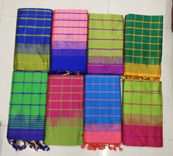 Cotton Semi Silk Sarees, 6.3 m (with blouse piece)