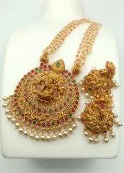 Sapna FX Copper Pearl Temple Jewellery Set - J 330