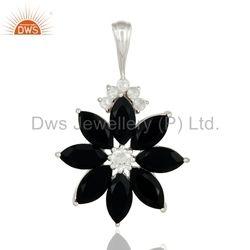 Black Onyx Gemstone Flower 925 Silver Pendant