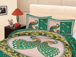 Peacock Print Cotton Bedsheet for Double Bed