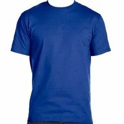 Blue Plain Round Neck T Shirt