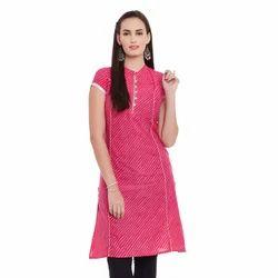 Lehariya Pink Cotton Kurti