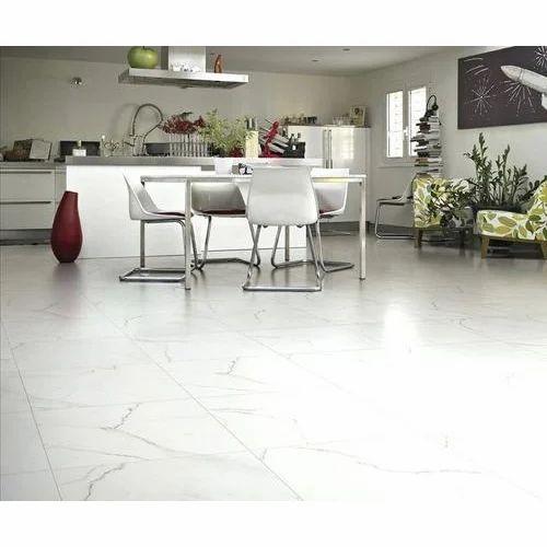 White Glazed Porcelain Floor Tile Size In Cm 4 X Feet