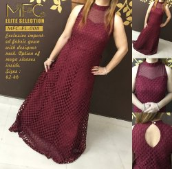 MFC Party Wear Sleeveless Ladies Gown, Size: 42-46