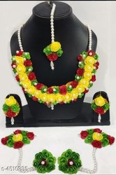 Flower Jewellery Set For Haldi Ceremony / Floral Artificial Jewellery