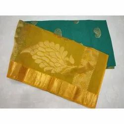 Printed Party Wear Chanderi Silk Saree, 6 m (with blouse piece)