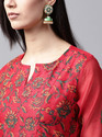 RED HAND BLOCK PRINTED A-LINE KURTA