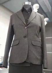 Hangerme Plain Ladies Gray Formal Blazer