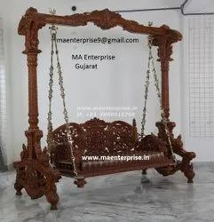 Living Room Wooden Jhula With Antique Look Swing