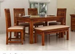 Delmara Luxury 4 Chair And 1 Bench Wooden Dining Table, For Home