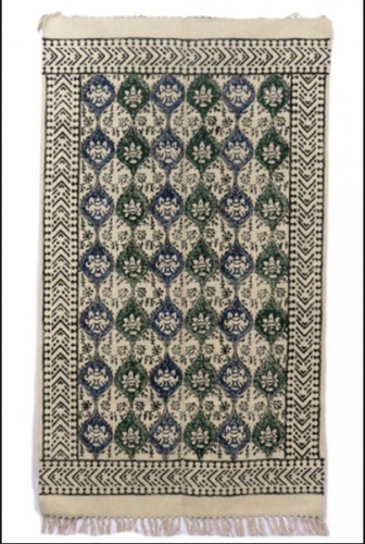 Block Printed Cotton Dhurrie Rugs India Dr4