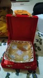 Gold Plated Decorative Brass Serving Tray For Wedding Gifting