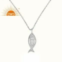 Fish Design 925 Sterling Fine Plain Silver Girls Chain Pendant