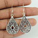 Abstract Solid 925 Sterling Silver Hamsa Earrings