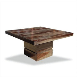 Modern Solid Wood Square Pedestal Dining Table